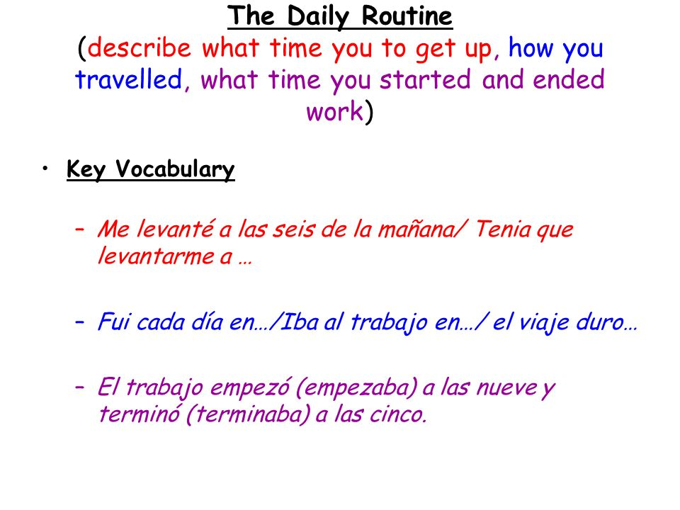 The Daily Routine (describe what time you to get up, how you travelled, what time you started and ended work)