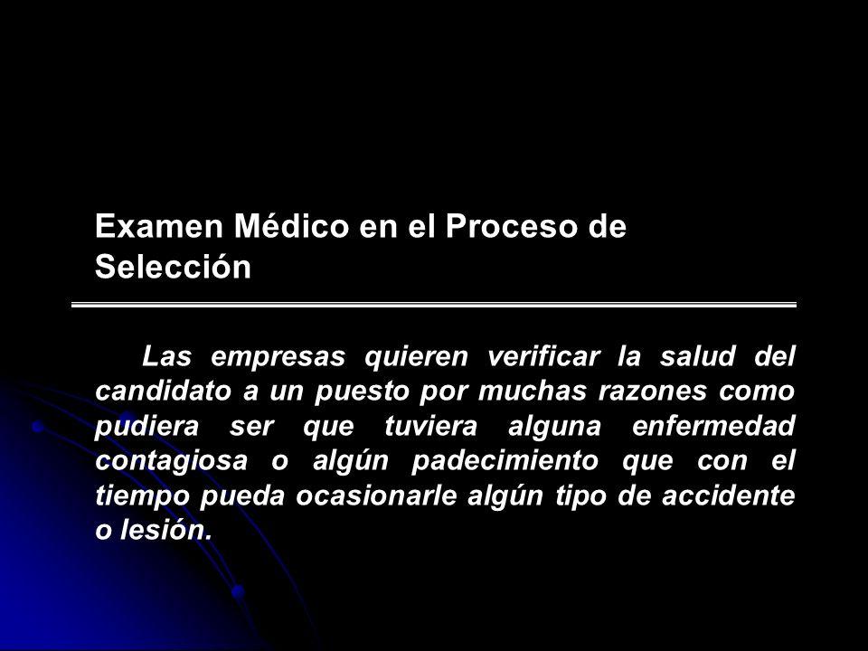 Examen Médico en el Proceso de Selección
