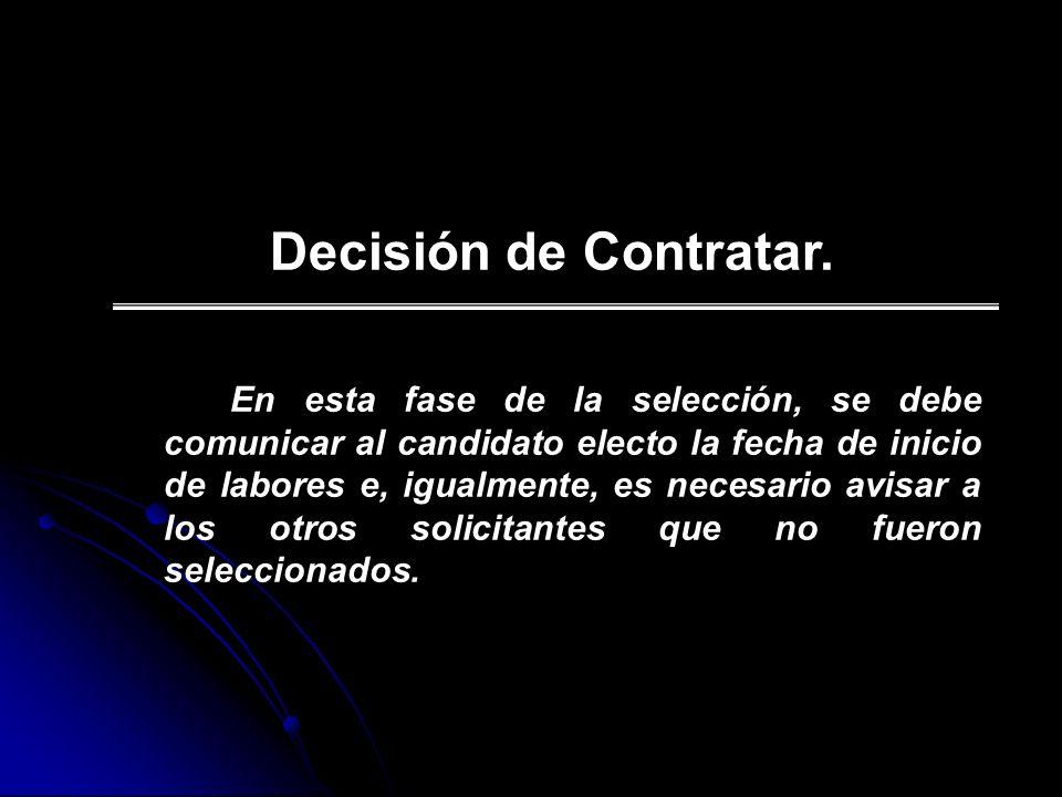 Decisión de Contratar.