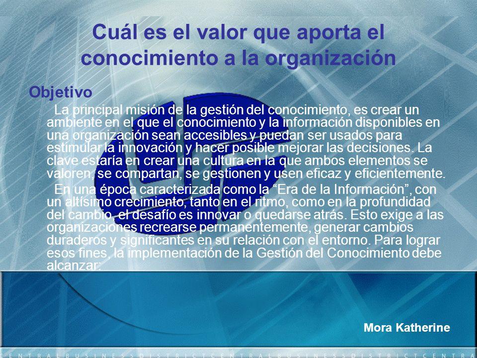 Cuál es el valor que aporta el conocimiento a la organización