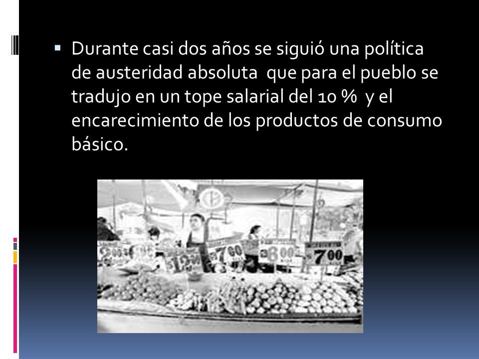 Durante casi dos años se siguió una política de austeridad absoluta que para el pueblo se tradujo en un tope salarial del 10 % y el encarecimiento de los productos de consumo básico.