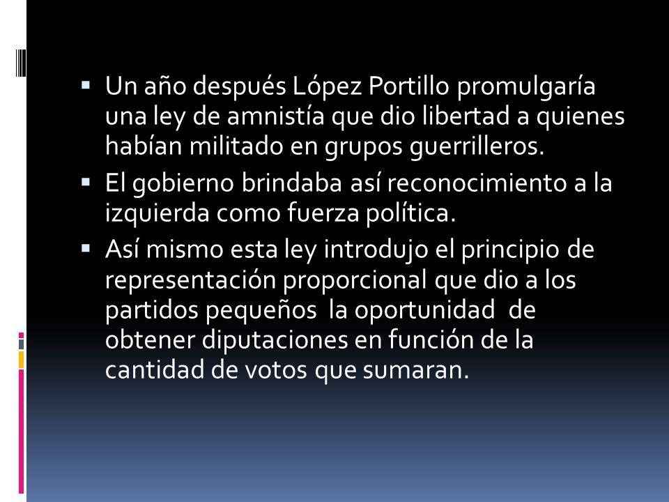 Un año después López Portillo promulgaría una ley de amnistía que dio libertad a quienes habían militado en grupos guerrilleros.