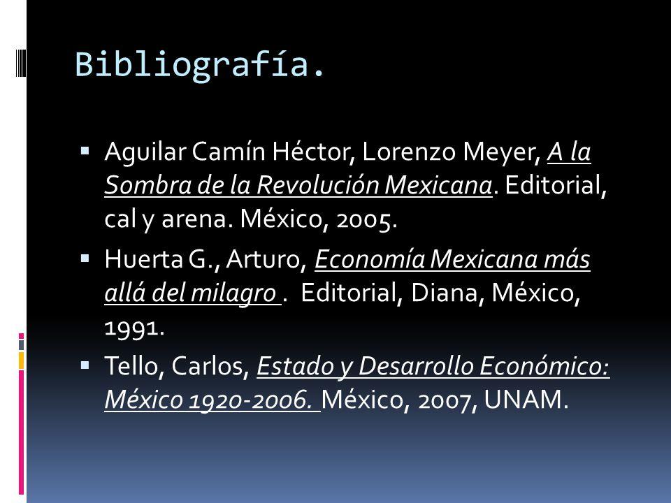 Bibliografía. Aguilar Camín Héctor, Lorenzo Meyer, A la Sombra de la Revolución Mexicana. Editorial, cal y arena. México, 2005.