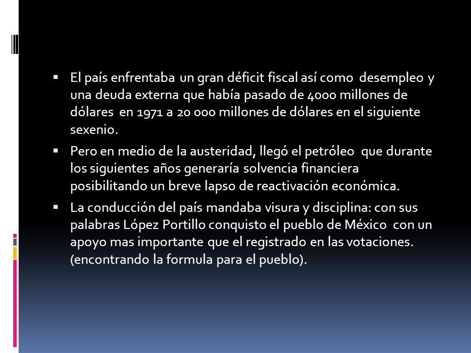 El país enfrentaba un gran déficit fiscal así como desempleo y una deuda externa que había pasado de 4000 millones de dólares en 1971 a 20 000 millones de dólares en el siguiente sexenio.