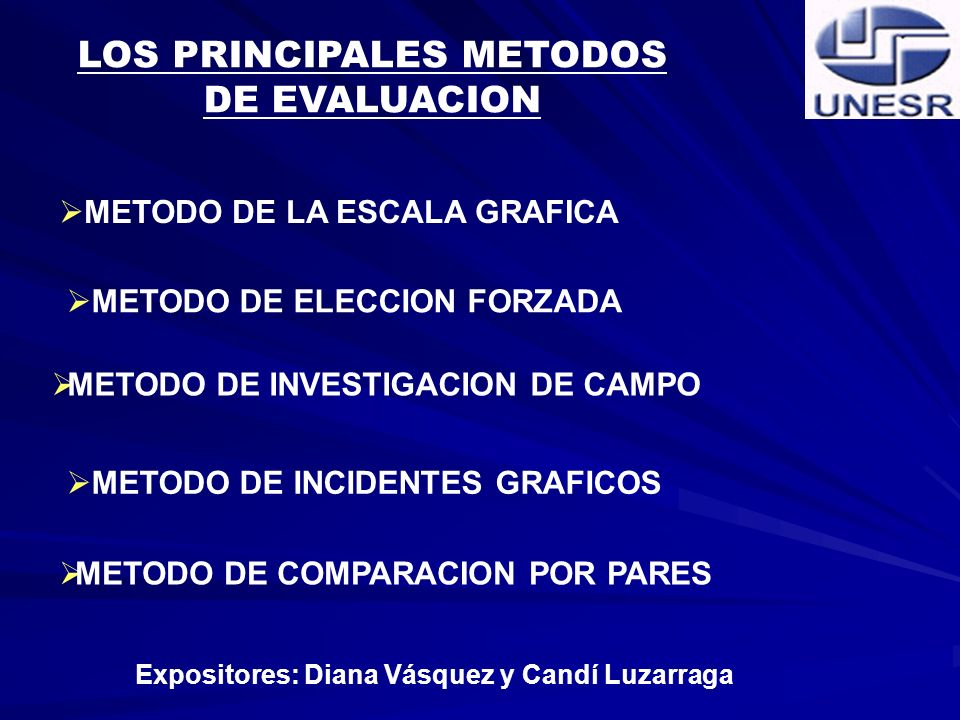LOS PRINCIPALES METODOS Expositores: Diana Vásquez y Candí Luzarraga