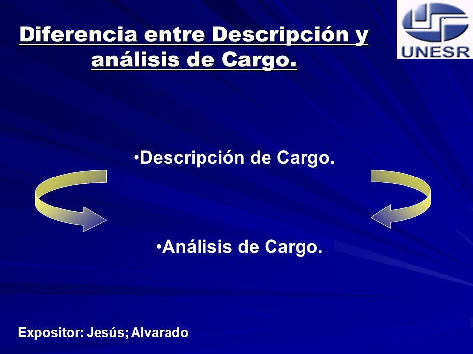 Diferencia entre Descripción y análisis de Cargo.