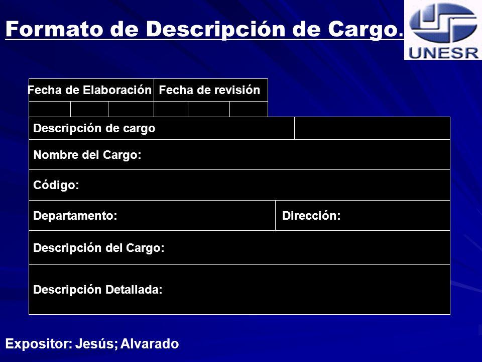 Formato de Descripción de Cargo.