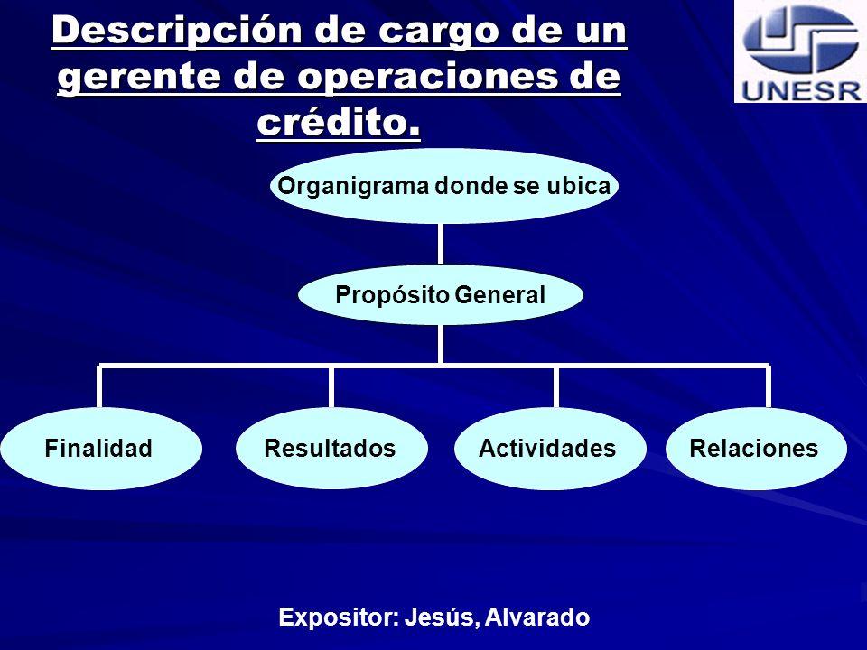 Descripción de cargo de un gerente de operaciones de crédito.