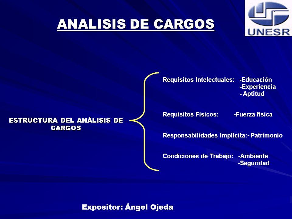 ESTRUCTURA DEL ANÁLISIS DE CARGOS Expositor: Ángel Ojeda