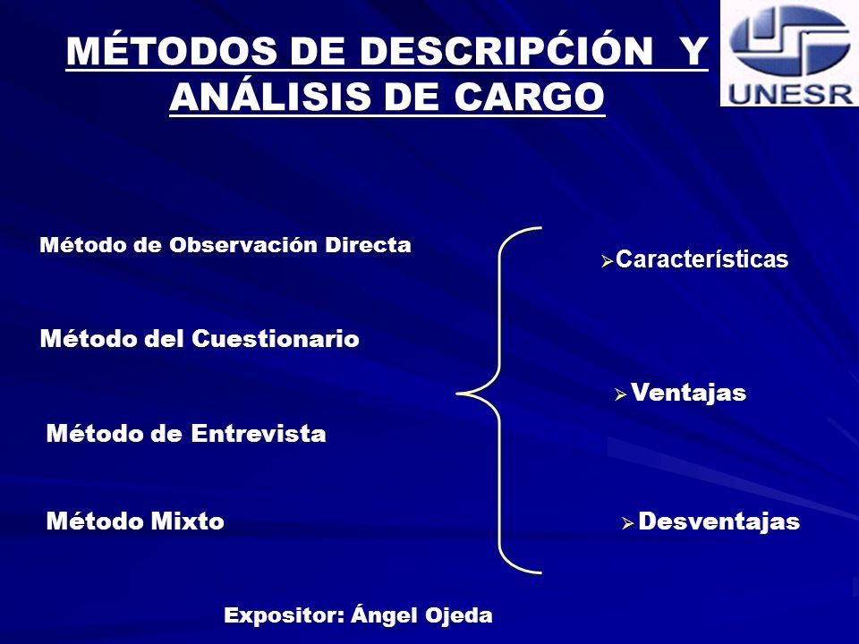 MÉTODOS DE DESCRIPĆIÓN Y ANÁLISIS DE CARGO Expositor: Ángel Ojeda