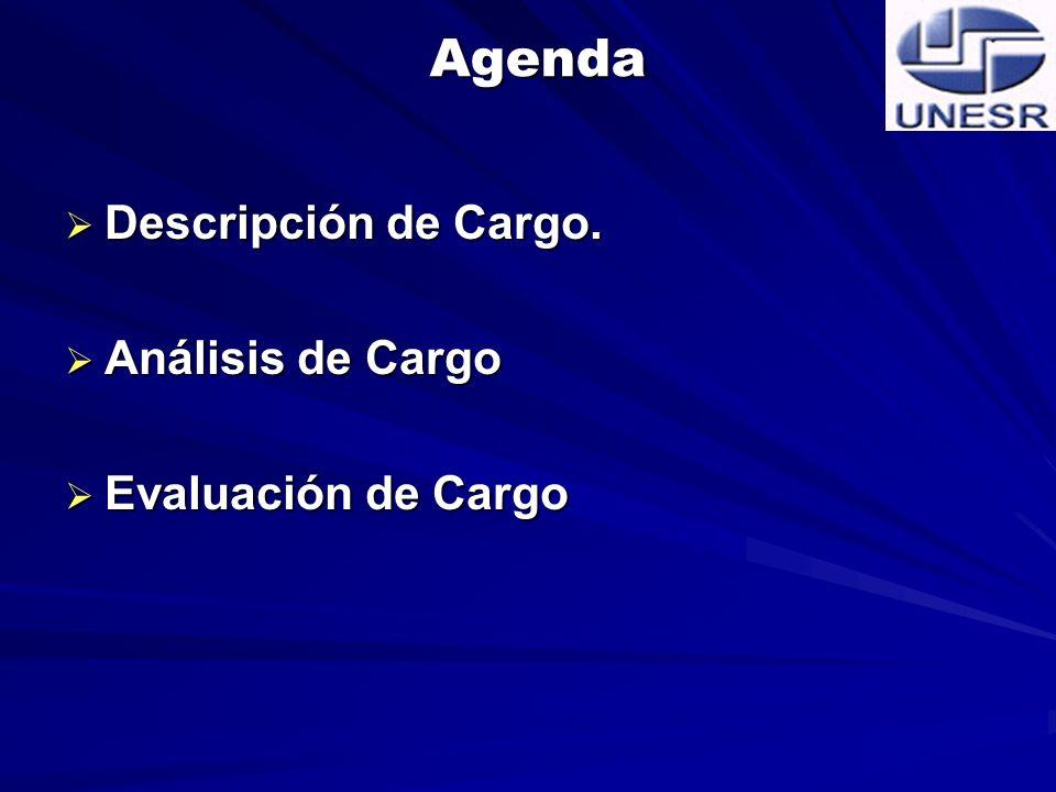 Agenda Descripción de Cargo. Análisis de Cargo Evaluación de Cargo