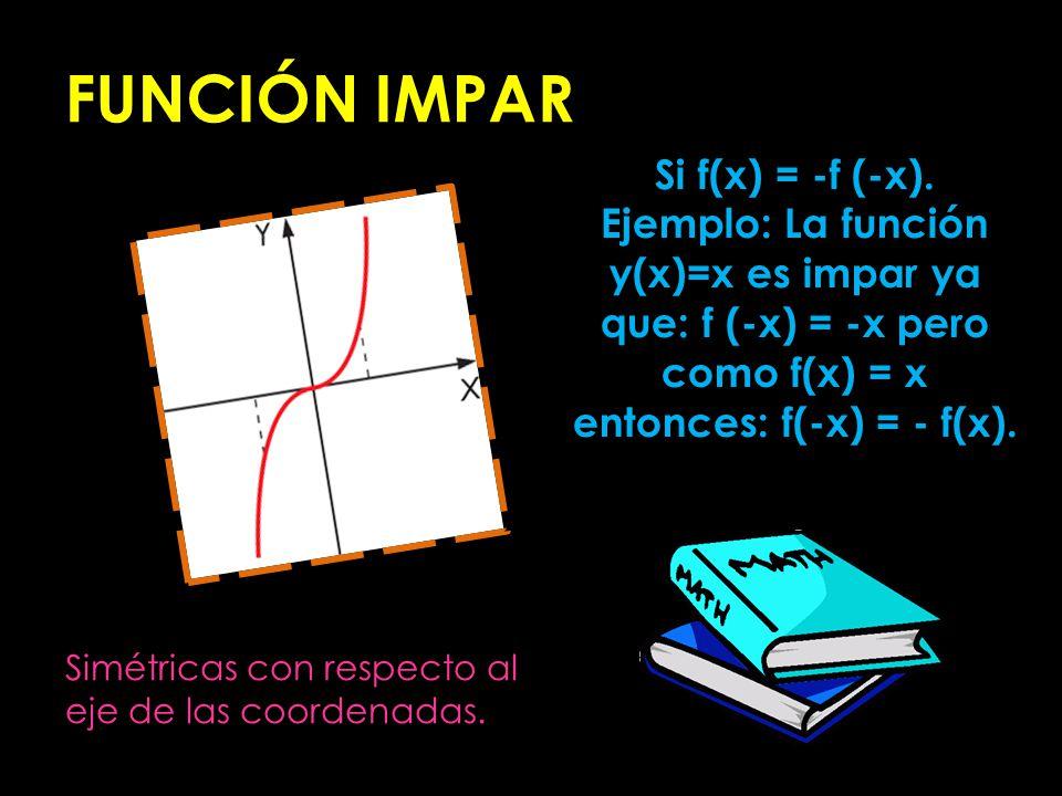 FUNCIÓN IMPAR Si f(x) = -f (-x).