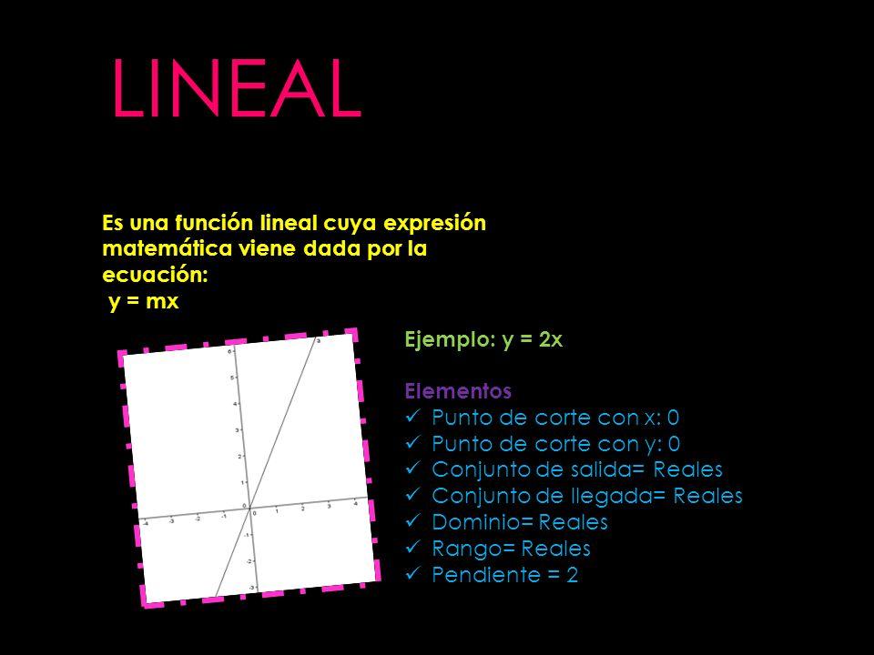 LINEAL Es una función lineal cuya expresión matemática viene dada por la ecuación: y = mx. Ejemplo: y = 2x.