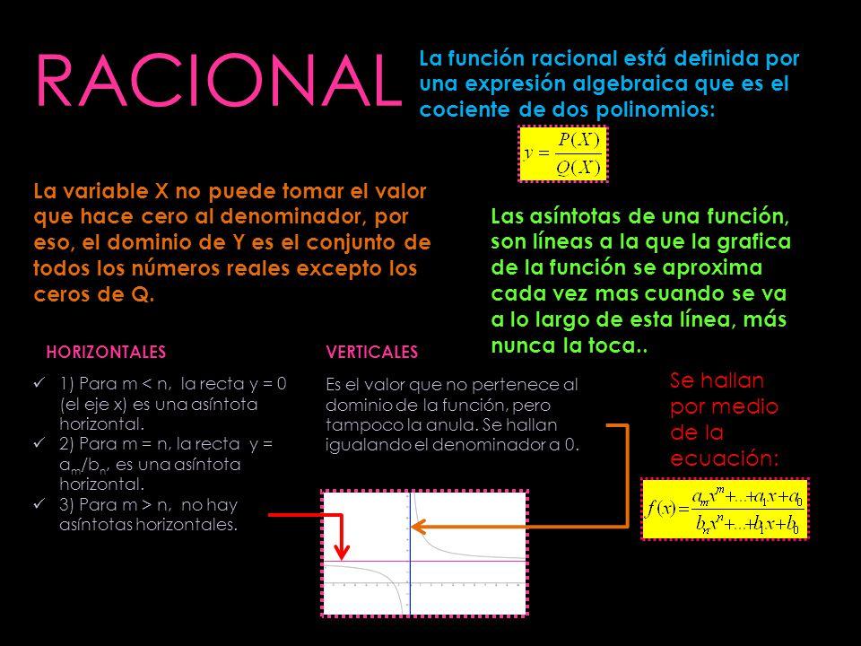 RACIONAL La función racional está definida por una expresión algebraica que es el cociente de dos polinomios: