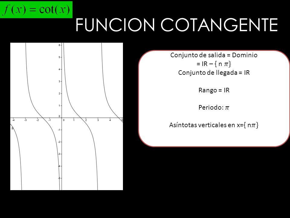 FUNCION COTANGENTE Conjunto de salida = Dominio = IR – { n 𝜋}