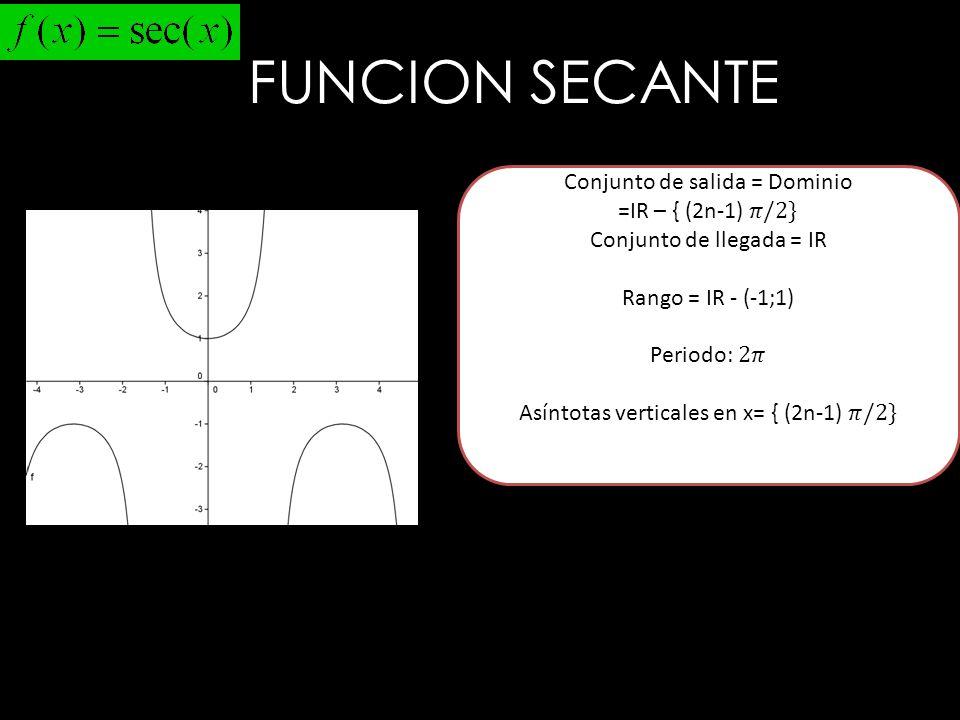 FUNCION SECANTE Conjunto de salida = Dominio =IR – { (2n-1) 𝜋/2}