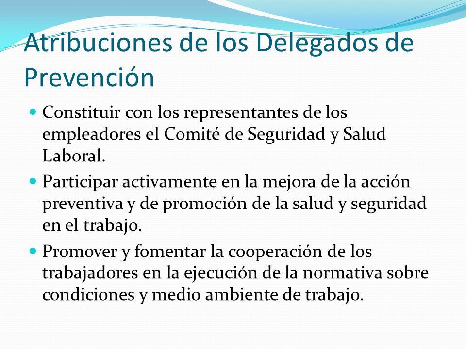 Atribuciones de los Delegados de Prevención
