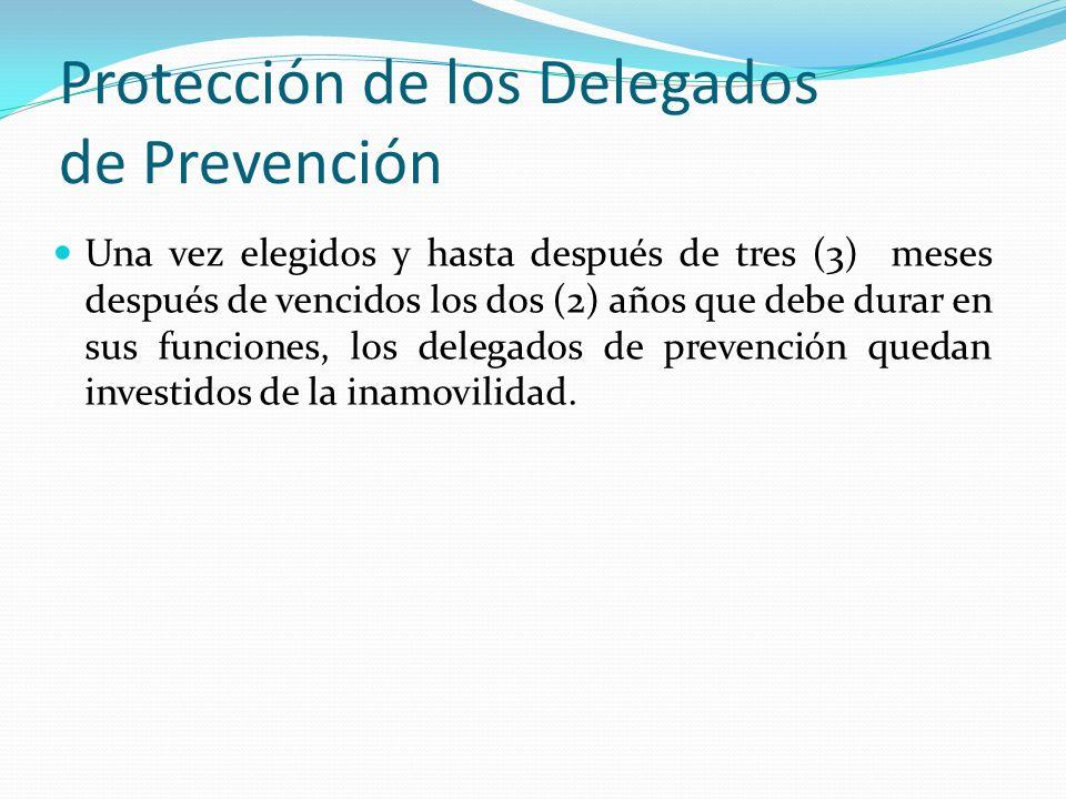Protección de los Delegados de Prevención