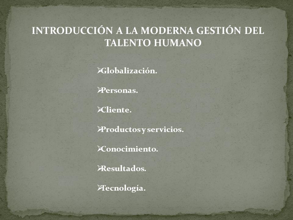 INTRODUCCIÓN A LA MODERNA GESTIÓN DEL TALENTO HUMANO