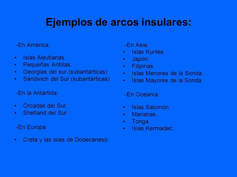 Ejemplos de arcos insulares: