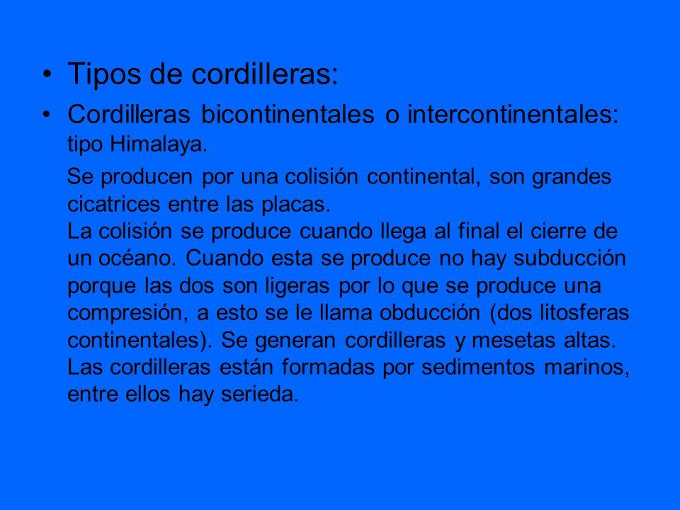 Tipos de cordilleras:Cordilleras bicontinentales o intercontinentales: tipo Himalaya.