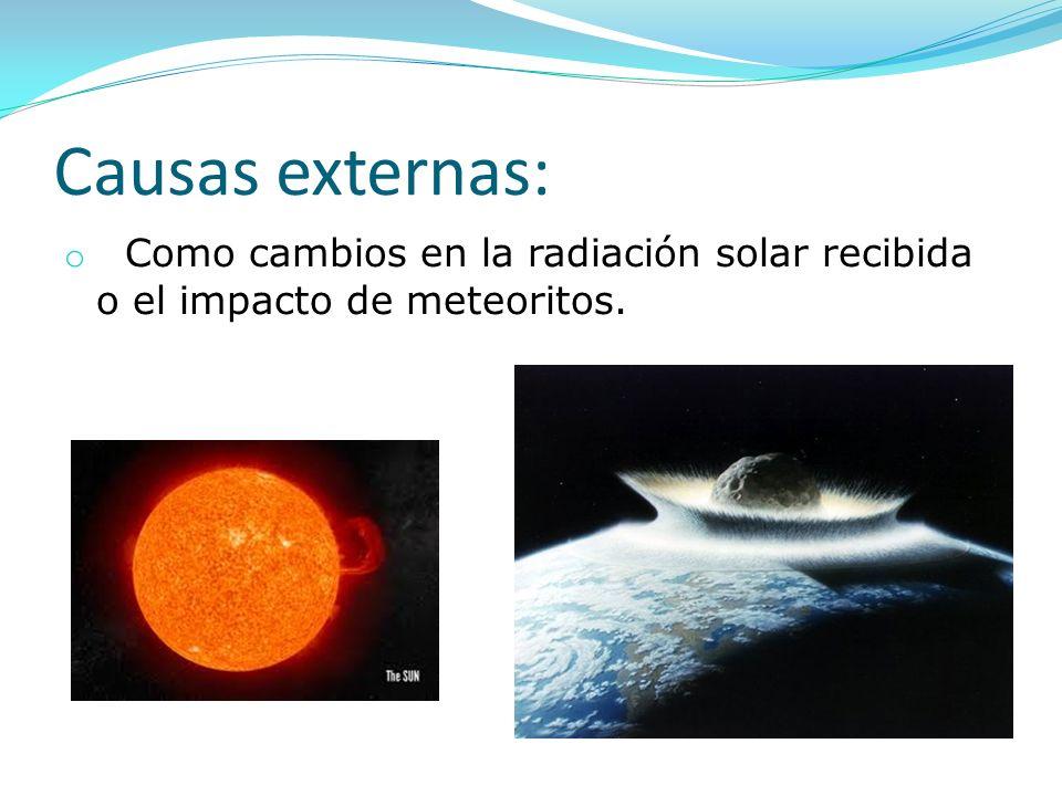 Causas externas: Como cambios en la radiación solar recibida o el impacto de meteoritos.