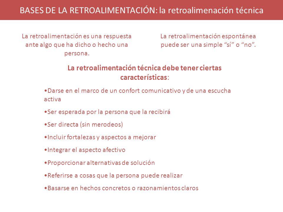 BASES DE LA RETROALIMENTACIÓN: la retroalimenación técnica