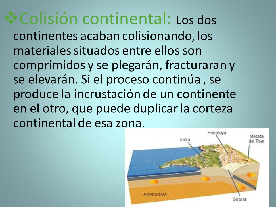 Colisión continental: Los dos continentes acaban colisionando, los materiales situados entre ellos son comprimidos y se plegarán, fracturaran y se elevarán.