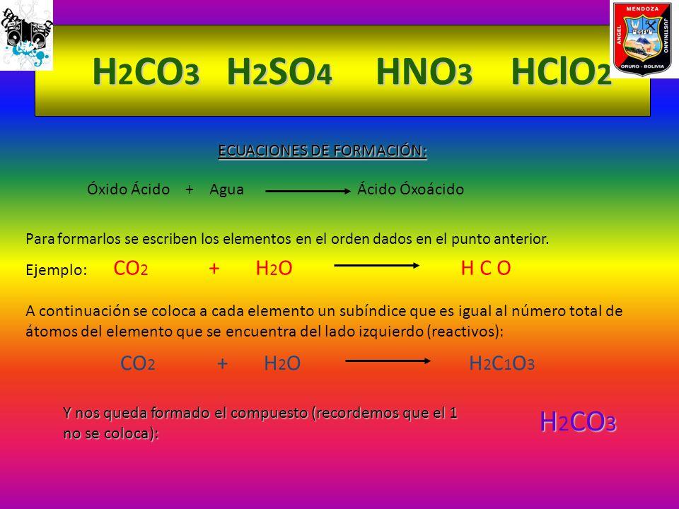 H2CO3 H2SO4 HNO3 HClO2 H2CO3 ECUACIONES DE FORMACIÓN: