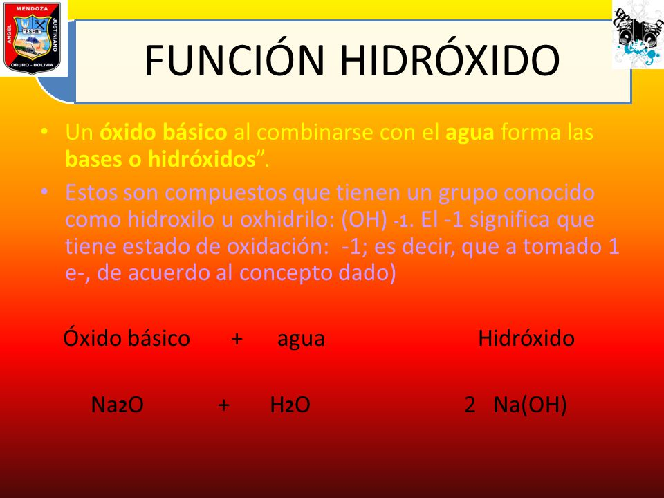 Óxido básico + agua Hidróxido Na2O + H2O 2 Na(OH)