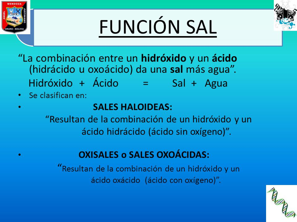 Hidróxido + Ácido = Sal + Agua