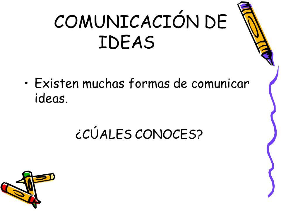 COMUNICACIÓN DE IDEAS Existen muchas formas de comunicar ideas.