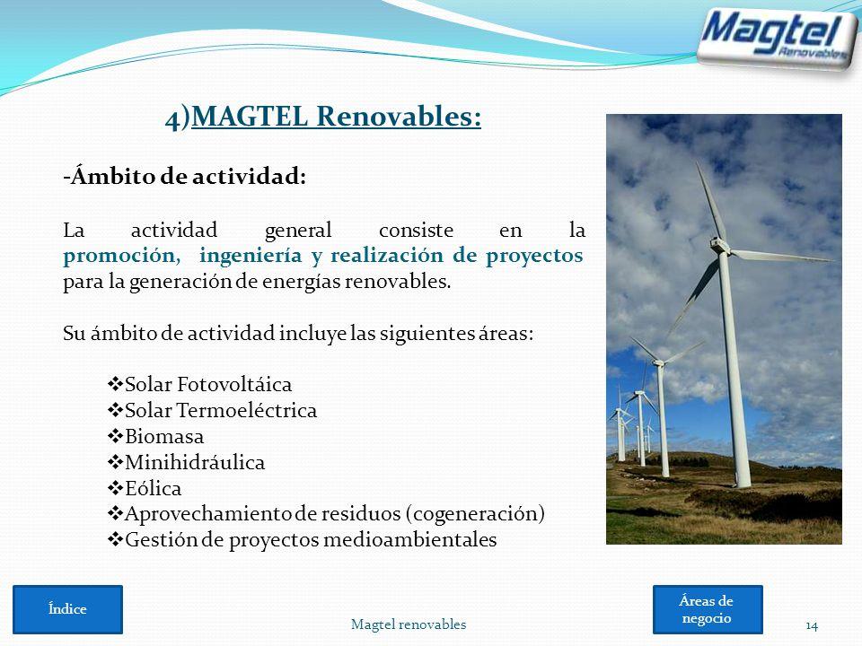 4)MAGTEL Renovables: -Ámbito de actividad: