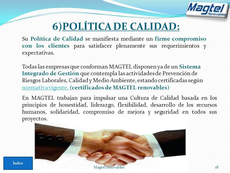 6)POLÍTICA DE CALIDAD: