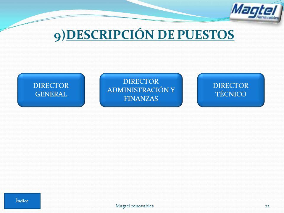 9)DESCRIPCIÓN DE PUESTOS