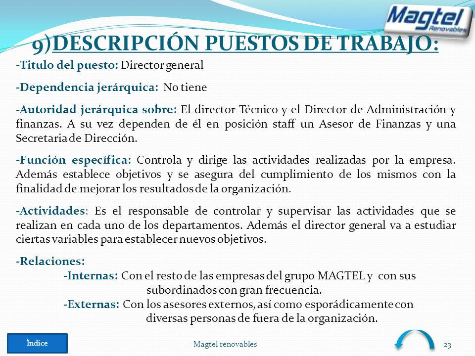 9)DESCRIPCIÓN PUESTOS DE TRABAJO: