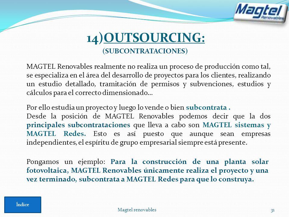 14)OUTSOURCING: (SUBCONTRATACIONES)