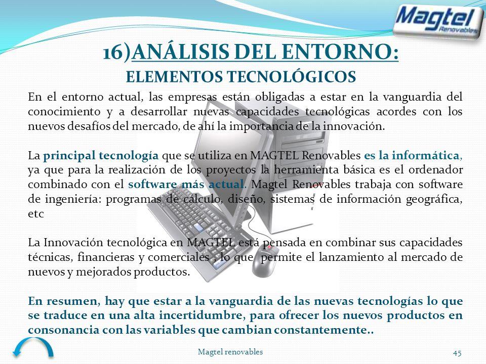 16)ANÁLISIS DEL ENTORNO: ELEMENTOS TECNOLÓGICOS