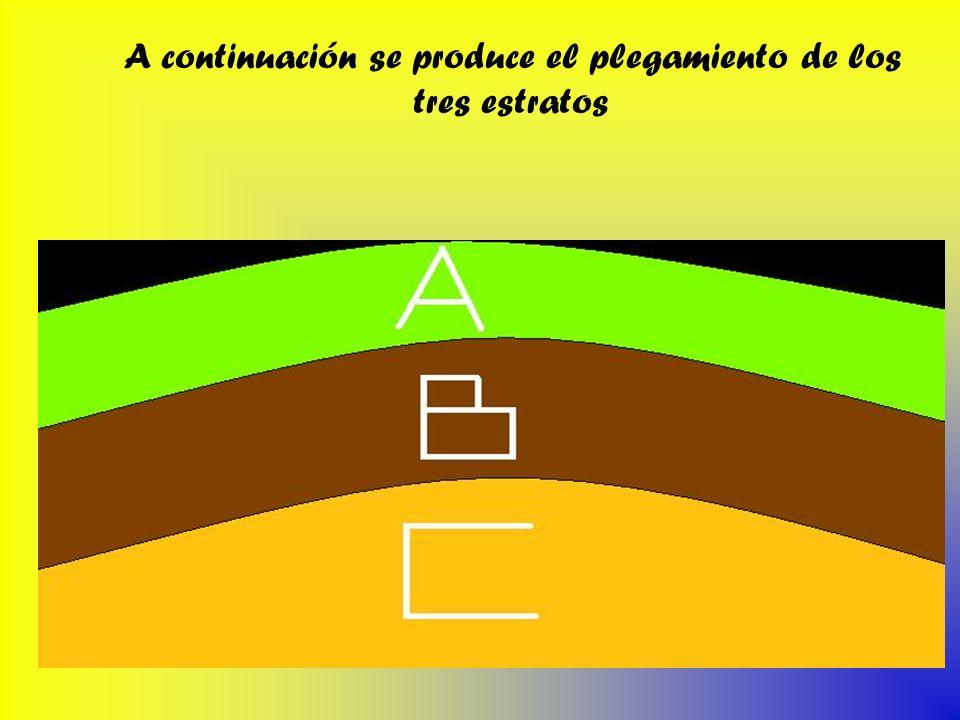 A continuación se produce el plegamiento de los tres estratos