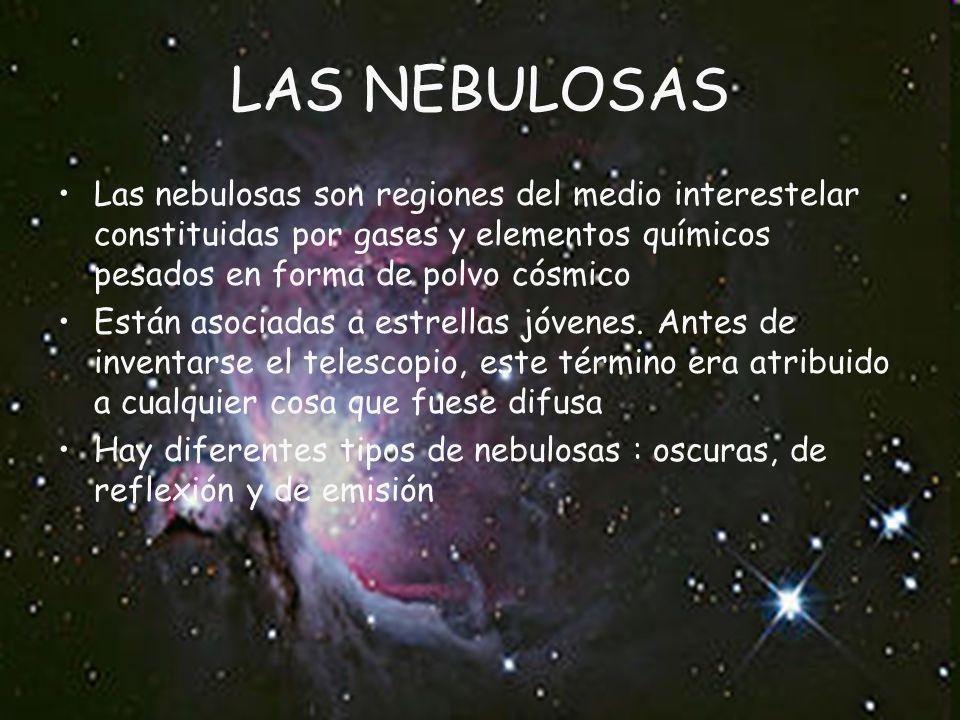LAS NEBULOSAS Las nebulosas son regiones del medio interestelar constituidas por gases y elementos químicos pesados en forma de polvo cósmico.