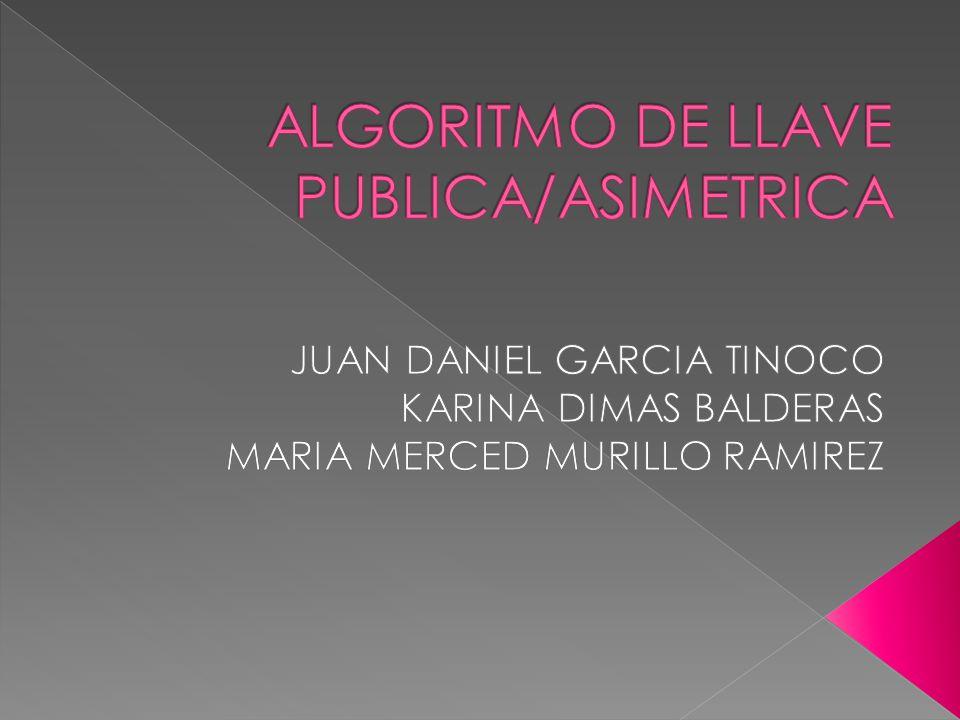ALGORITMO DE LLAVE PUBLICA/ASIMETRICA