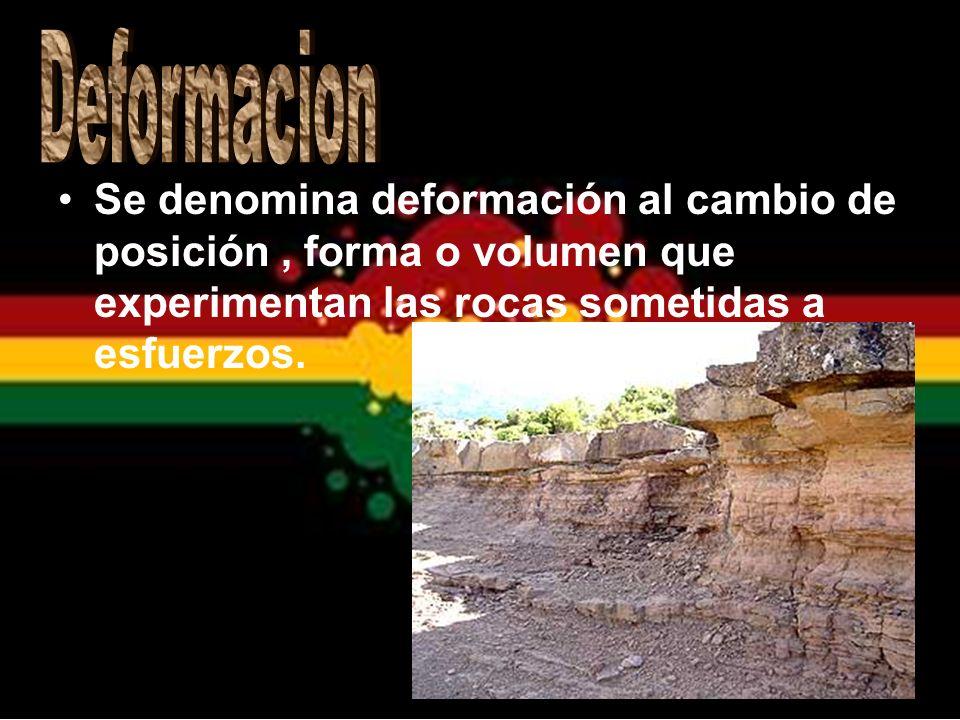 Deformacion Se denomina deformación al cambio de posición , forma o volumen que experimentan las rocas sometidas a esfuerzos.