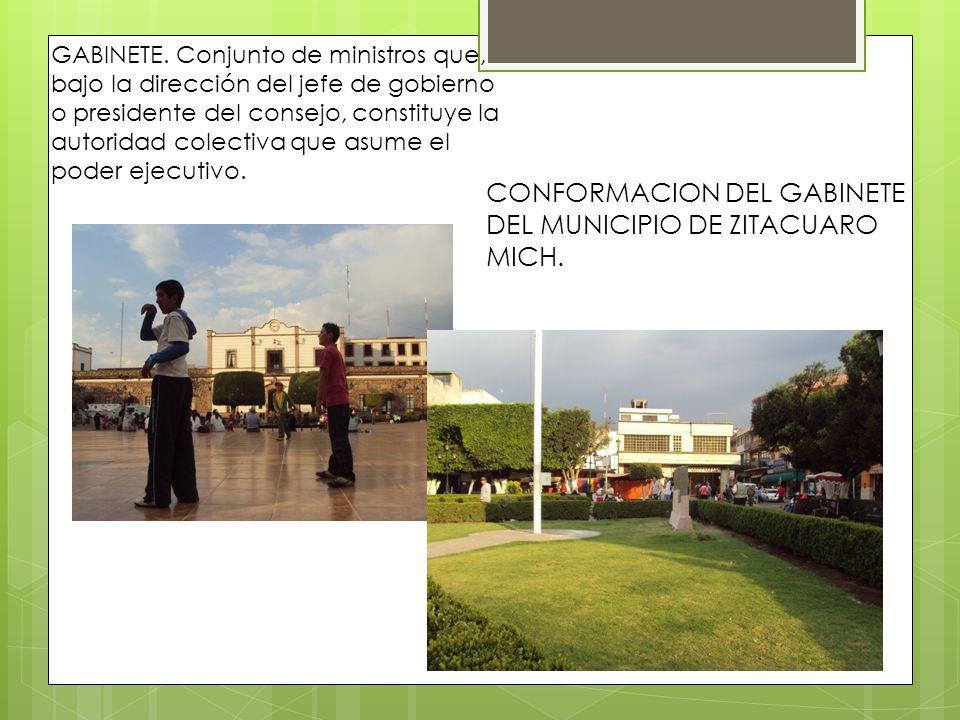 CONFORMACION DEL GABINETE DEL MUNICIPIO DE ZITACUARO MICH.