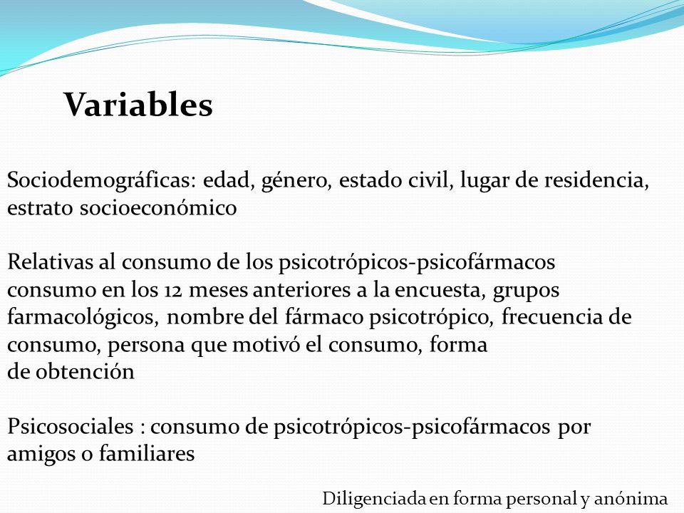 Variables Sociodemográficas: edad, género, estado civil, lugar de residencia, estrato socioeconómico.