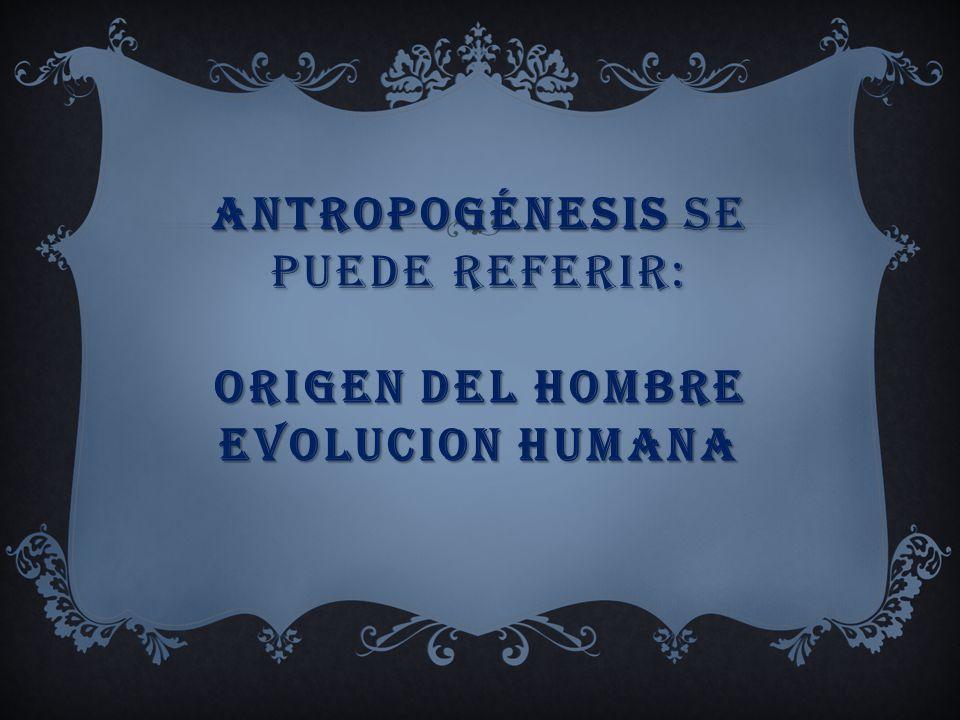Antropogénesis se puede referir: Origen del hombre evolucion humana
