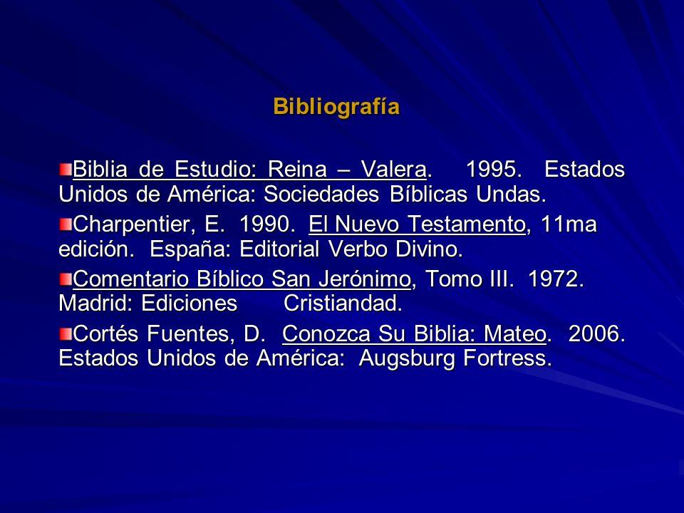 BibliografíaBiblia de Estudio: Reina – Valera. 1995. Estados Unidos de América: Sociedades Bíblicas Undas.