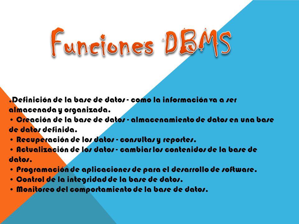 Funciones DBMS .Definición de la base de datos - como la información va a ser almacenada y organizada.