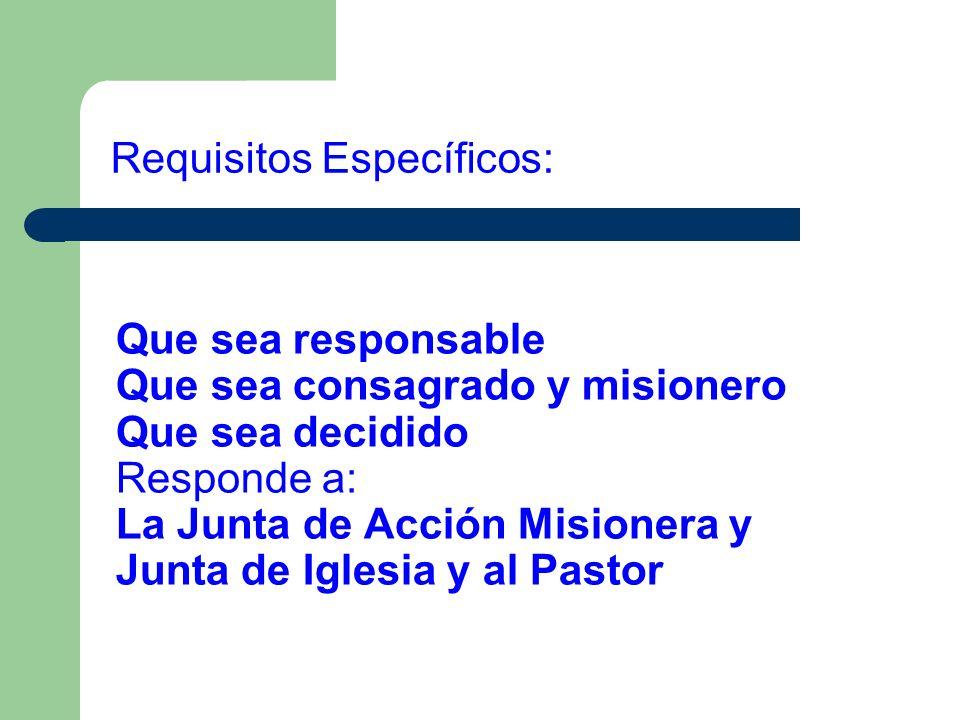Requisitos Específicos: