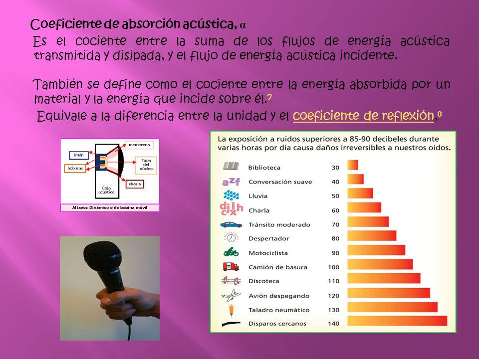 Coeficiente de absorción acústica, α Es el cociente entre la suma de los flujos de energía acústica transmitida y disipada, y el flujo de energía acústica incidente.