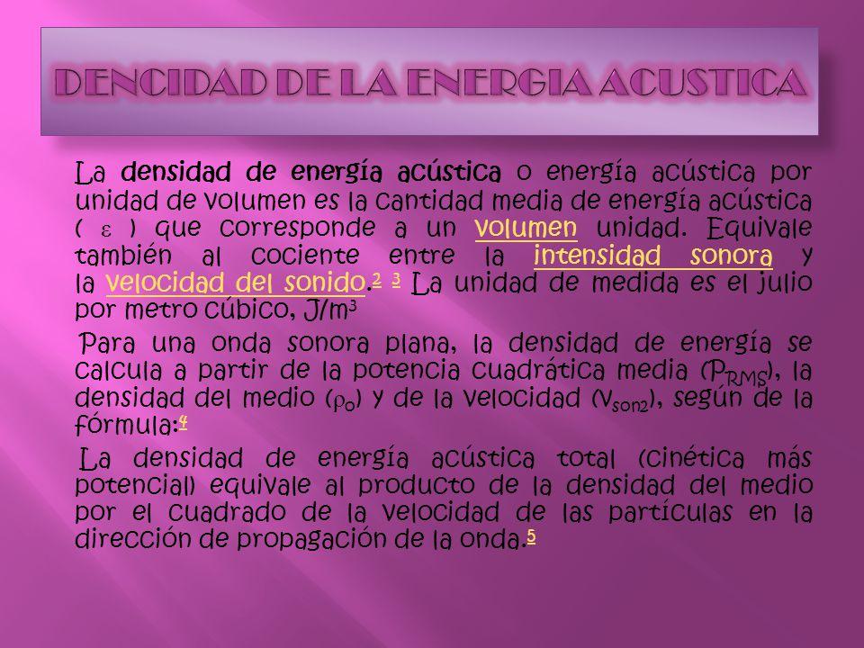 DENCIDAD DE LA ENERGIA ACUSTICA